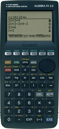 Graphing calculator: Casio Algebra FX 2.0