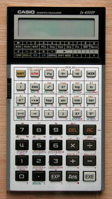 Scientific programmable calculator: Casio fx-4000P