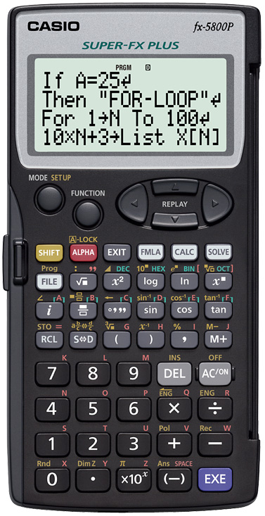 Scientific programmable calculator: Casio FX-5800P