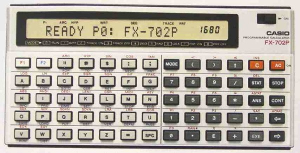 BASIC programmable calculator: Casio FX-702P
