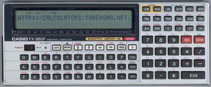 BASIC programmable calculator: Casio FX-880P