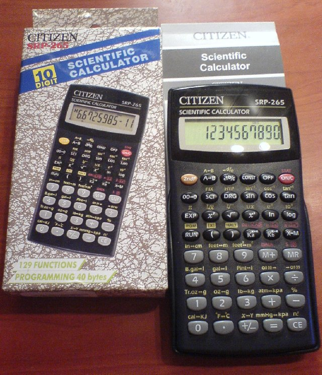 Scientific programmable calculator: Citizen SRP-265