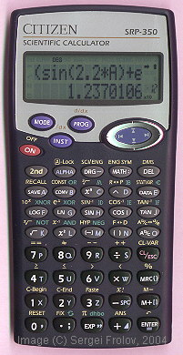 Scientific programmable calculator: Citizen SRP-350