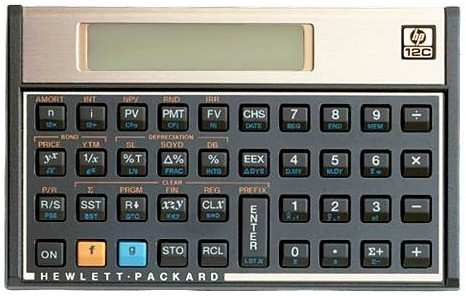 Financial programmable calculator: Hewlett-Packard HP-12C