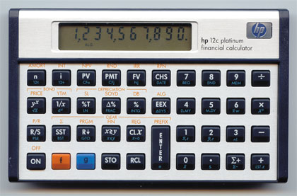 Financial programmable calculator: Hewlett-Packard HP-12C Platinum