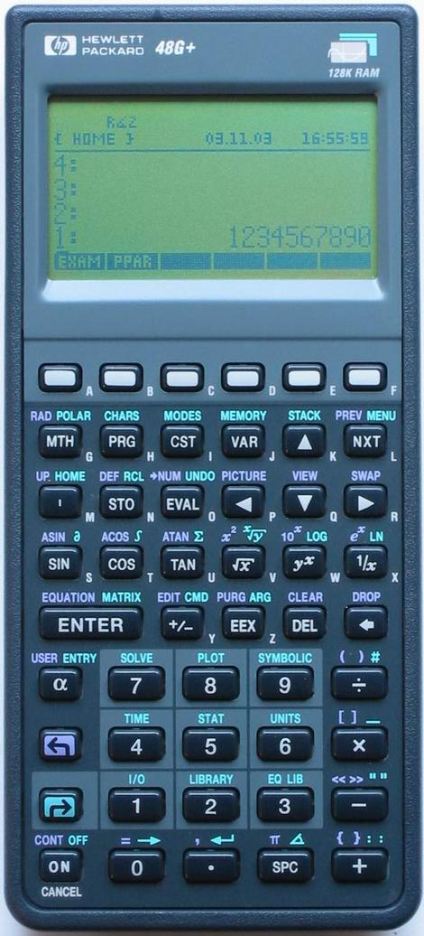 Graphing calculator: Hewlett-Packard HP-48G+