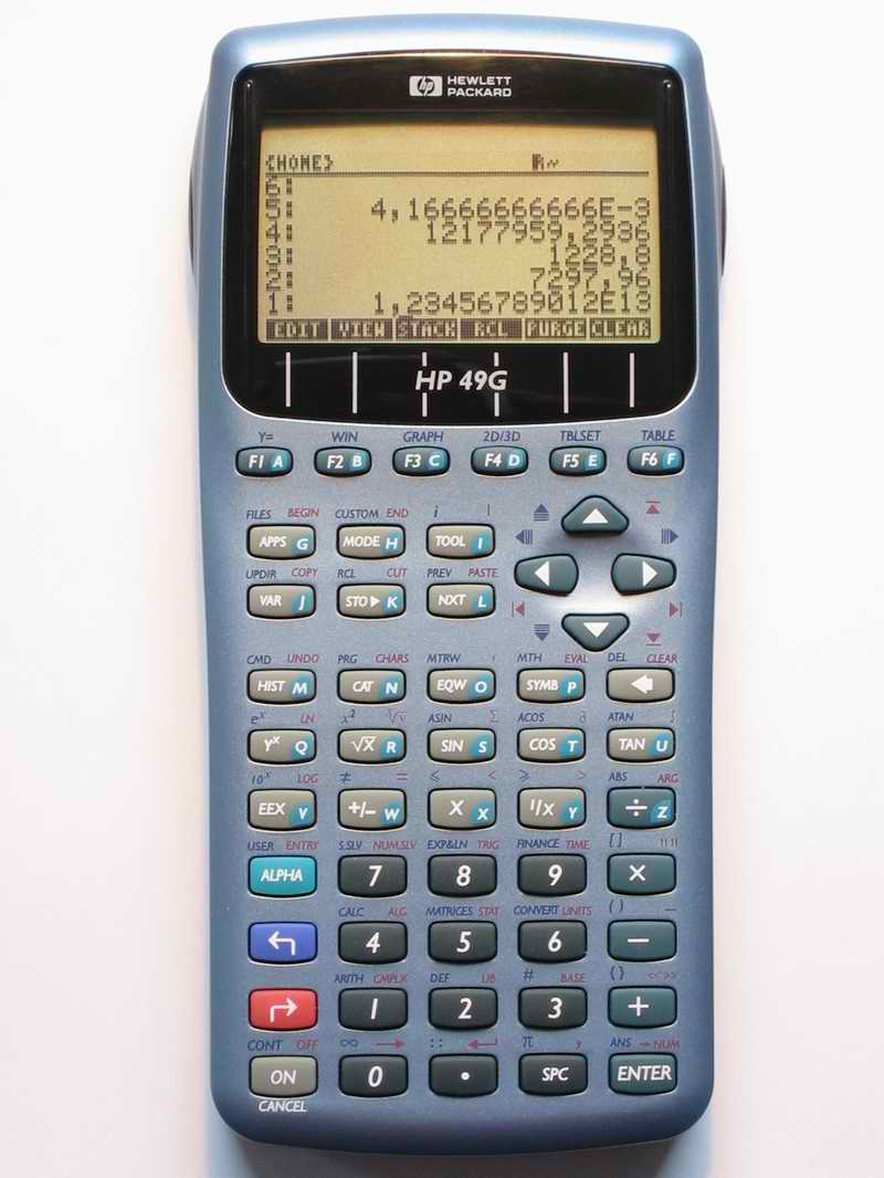 Graphing calculator: Hewlett-Packard HP-49G