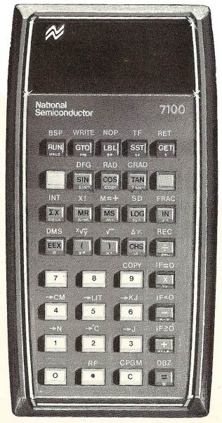 Scientific programmable calculator: National Semiconductor NS-7100