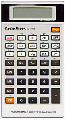 Scientific programmable calculator: Radio Shack EC-4021