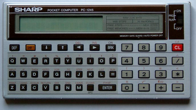 BASIC programmable calculator: Sharp PC-1245