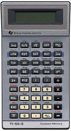 Scientific programmable calculator: Texas Instruments TI-55-II