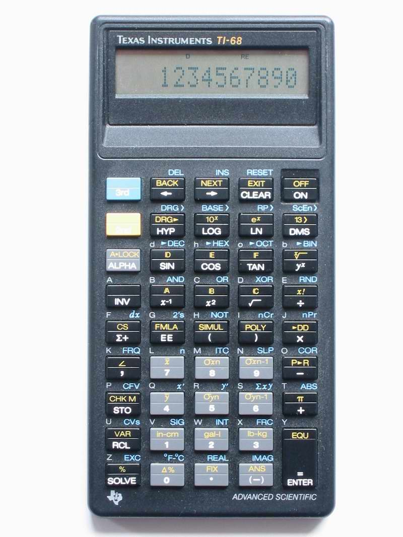 Scientific programmable calculator: Texas Instruments TI-68