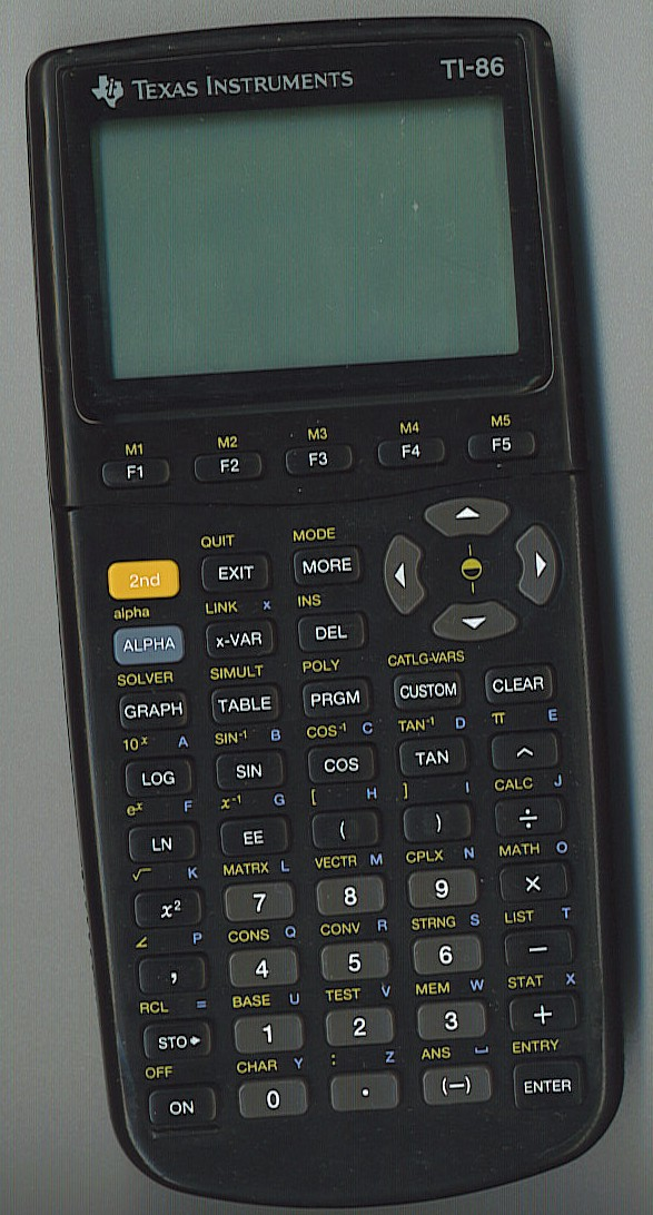 Graphing calculator: Texas Instruments TI-86