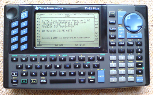 Graphing calculator: Texas Instruments TI-92 Plus