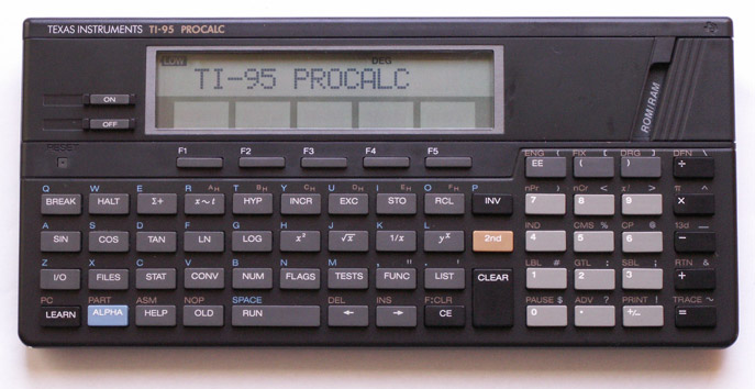 Scientific programmable calculator: Texas Instruments TI-95